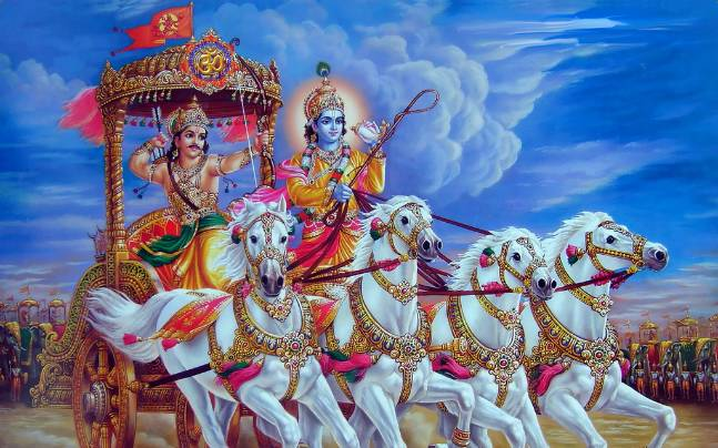 Picture of Shrikrishna and Arjun from Bhagwat Gita